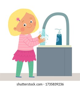 Cute young girl washing her hands with Soap under running Water. Prevention against Virus and Infection. Hygiene Concept. Cartoon 10 illustration isolated on white in a flat style