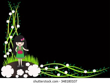 Cute young girl with white flowers on a black background.