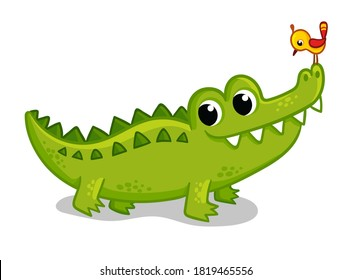 Cute young green crocodile on a white background with a bird on the nose. Vector illustration with animal in cartoon style.