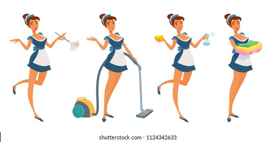 Cute young maid girl in uniform holding tools for cleaning, smiling, pointing hand. Housemaid with feather duster, vacuum cleaner, sponge, pulverizer, clean linen, towels. Vector illustration isolated