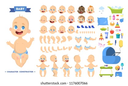 Cute young male baby boy character set for animation with various views, hairstyles, emotions, poses and gestures. Toys for kids set. Isolated vector illustration in cartoon style