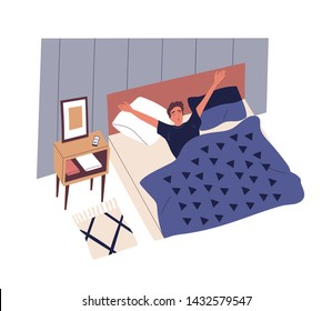 Cute young man waking up in morning. Male character lying in bed, yawning and stretching. Start of working day, everyday life, daily activity. Colorful vector illustration in flat cartoon style.