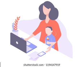 Cute young mom freelancer works at home at the computer. Thinks of work and home affairs. On the knee is a child with a bottle of milk. Independent woman. Illustration isolated on white background.