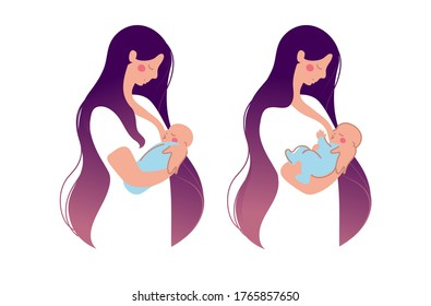 A cute young mother breastfeeds a newborn baby . The woman presses the baby to the chest, the baby eats breast milk. Flat illustration isolated on white background