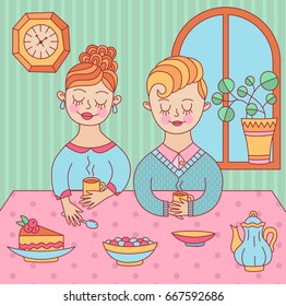 Cute young people man and woman on a tea date, funny colorful childish doodle drawing vector illustration