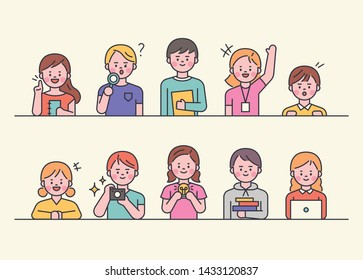 Cute young students are holding objects. flat design style minimal vector illustration.