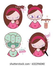 Cute young woman illustration making up And taking care of your skin