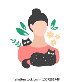 Cute young woman with lovely domestic black cats . Vector female avatar isolated on white background.