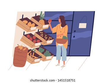 Cute young woman with shopping basket buying food at grocery store. Funny girl choosing fruits and vegetables at supermarket. Daily routine, everyday activity. Flat cartoon vector illustration.