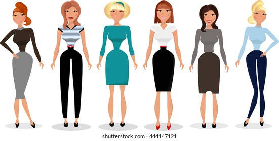 Cute young women in business.Big set of office worker or business people.