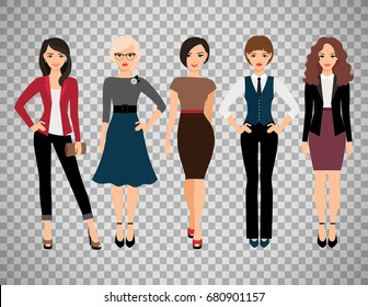 Cute young women in different style clothes vector illustration. Businesswoman and office girl character isolated on transparent background