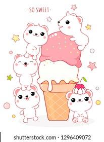 Cute yummy card in kawaii style. Lovely polar bears with ice cream. Inscription So sweet. EPS8