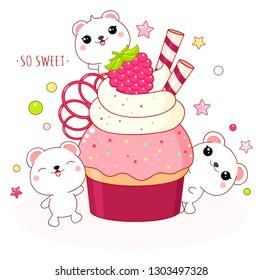 Cute yummy card in kawaii style. Lovely polar bears with raspberry cake. Inscription So sweet. EPS8