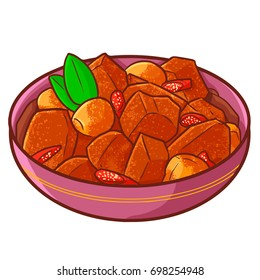 "Cute and yummy ""Rendang"", a special recipe from Padang, West Sumatera, Indonesia. Made from beef meat, many spices, and taste so delicious that well known around the world - vector."