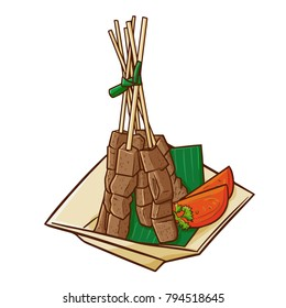 "Cute and yummy ""Sate Jeroan"", a traditional cuisine from West Java - Indonesia. Beautiful presentation and delicious - vector."