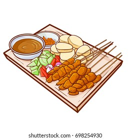 "Cute and yummy ""Sate Madura with Lontong"", a chicken dish with cake rice. A traditional food from Madura, East Java, Indonesia. Served with rice, chili, and peanut sauce - vector."