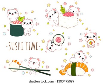 Cute yummy set in kawaii style. Lovely polar bears with japanese seafood - sushi and roll. Inscription So sweet. EPS8