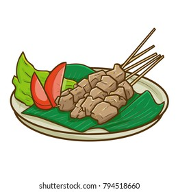 "Cute and yummy Sweet Beef Satay, or ""Sate Sapi Manis"" in Bahasa Indonesia. A traditional food from Indonesia. Very famous and delicious - vector."