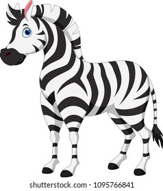 Cute zebra cartoon isolated on white background