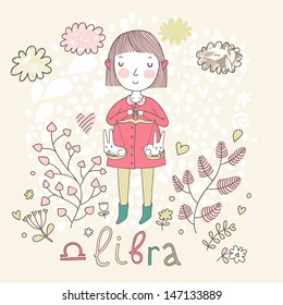 Cute zodiac sign - Libra. Vector illustration. Little girl riding on pink horse and shooting arrows. Background with flowers and clouds. Doodle hand-drawn style