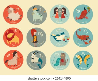 Cute zodiac signs icon. Hand-drawn style. 12 characters in one set