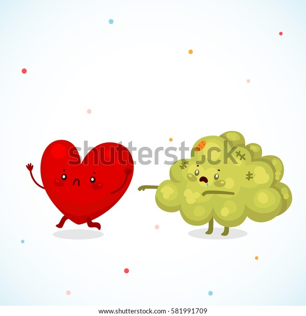 Cute zombie brain and heart, cartoon characters.