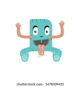 Cute zombie cartoon. Vector illustration of Halloween sitting out sticking out tongue, scary character, hungry and thirsty character, scary comic character - vector