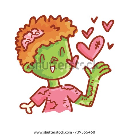 Cute Zombie Character Love Sending Kiss Stock Vector Royalty Free