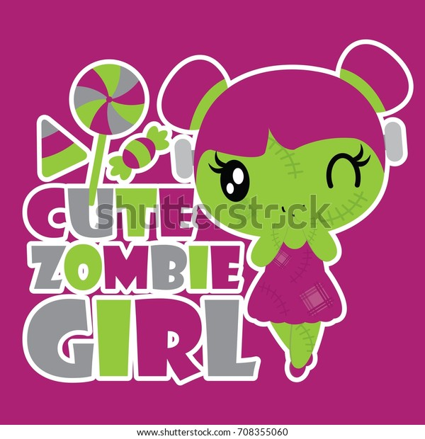 Girly Cute Halloween Wallpaper.Cute Zombie Girl Colorful Candies Vector Stock Vector Royalty Free