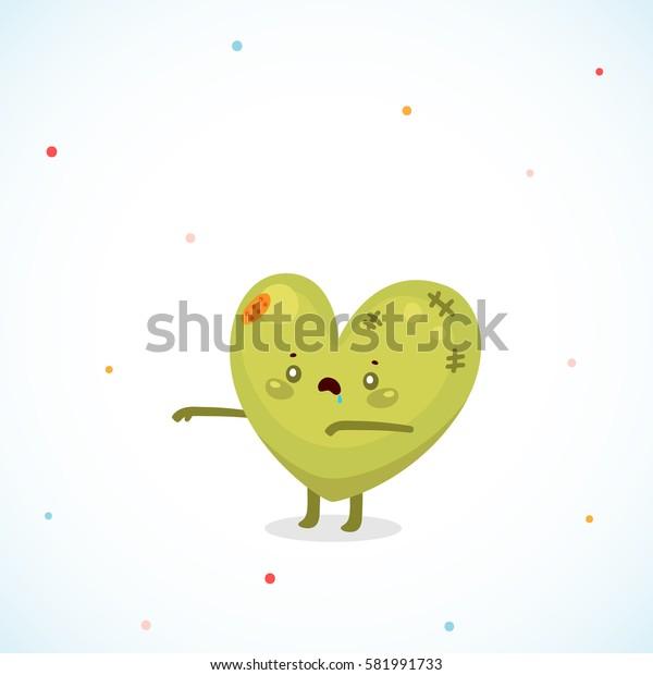 Cute zombie heart, cartoon character,