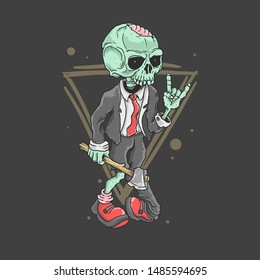 cute zombie rocker illustration vector