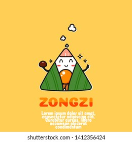 cute zongzi  cartoon vector.sticky rice dumplings.dragon boat festival .kawaii food cocept.outline comic.