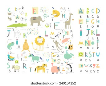 Cute alphabet images stock photos vectors shutterstock cute zoo alphabet with funny animals in vector letters learn to read isolated altavistaventures Images