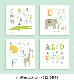 Cute zoo alphabet in vector . A, B, C, D, E, F, G, H letters. Four funny cards with animals.