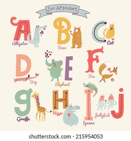 Cute zoo alphabet in vector. A, b, c, d, e, f, g, h, i, j letters. Funny cartoon animals. Alligator, bear, cat, dog, elephant, fox, giraffe,  hippo, iguana, jellyfish in bright colors
