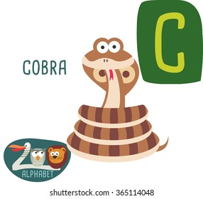 Cute zoo alphabet in vector. C letter for Cobra Funny cartoon animals. Alphabet design in a colorful style.