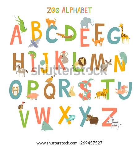 Cute Zoo Alphabet Vector Different Animals Stock Vector