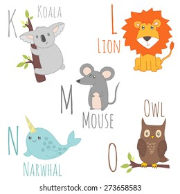 Cute zoo alphabet in vector. K, l, m, n, o letters. Funny cartoon animals. Koala, lion, mouse, narwhal, owl