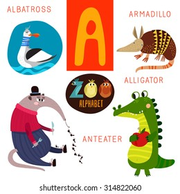 Cute zoo alphabet in vector.  A letter. Funny cartoon animals: Albatross,armadillo,alligator,anteater . Alphabet design in a colorful style.