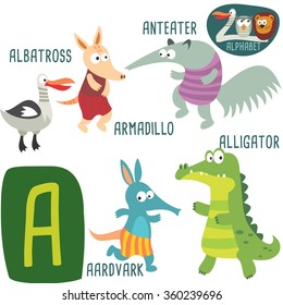 Cute zoo alphabet in vector. A letter. Funny cartoon animals: Albatross, Armadillo, Anteater, Alligator, Aardvark. Alphabet design in a colorful style.