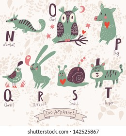 Cute zoo alphabet in vector. N, o, p, q, r, s, t letters. Funny animals in love. Numbat, owl, pig, quail, rabbit, snail, tiger