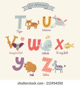 Cute zoo alphabet in vector. T, u, v, w, x, y, z letters. Funny cartoon animals. Tiger, unicorn, vampire bat, whale, x-ray fish, yak, zebra in bright colors