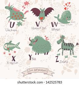 Cute zoo alphabet in vector. U, v, w, x, y, z letters. Funny animals in love. Unicorn, vampire bat, whale, x-ray fish yak, zebra