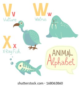 Cute zoo alphabet in vector. V, w, x letters. Funny animals. Vulture, walrus, X-ray fish. Vector illustration for children's education.
