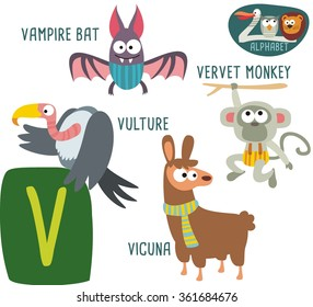 Cute Zoo alphabet in vector. V letter for Vulture, Vampire Bat, Velvet Monkey, Vicuna. funny cartoon animals. alphabet design in a colorful style