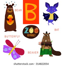 Cute zoo alphabet in vector.B letter. Funny cartoon animals: Bear,bat,butterfly,beaver. Alphabet design in a colorful style.
