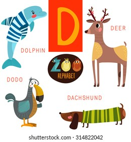 Cute zoo alphabet in vector.D letter. Funny cartoon animals:Dolphin,deer,dodo,dachshund . Alphabet design in a colorful style.