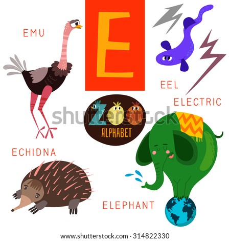 Cute Zoo Alphabet Vector E Letter Funny Stock Vector (Royalty Free