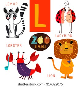 Cute zoo alphabet in vector.L letter. Funny cartoon animals:Lemur,ladybird,lobster,lion. Alphabet design in a colorful style.