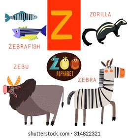 Cute zoo alphabet in vector.Z letter. Funny cartoon animals:Zebrafish,zorilla,zebu,zebra. Alphabet design in a colorful style.